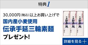 特典1 3万円以上お買い上げで三輪素麺プレゼント