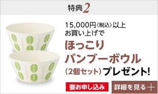 特典2 1万5千円以上お買い上げでほっこりバンブーボウル2個セットプレゼント