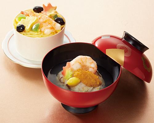 〈京料理 美濃吉〉甘鯛とうにのかぶら蒸しと車海老の蒸し寿司