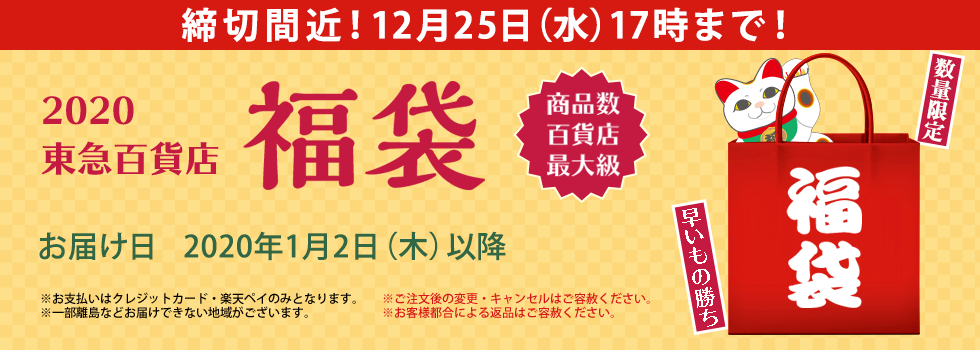 2020年東急百貨店の福袋 締切間近!12月25日(水)17時まで!