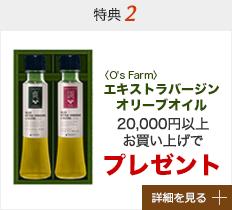 特典2 2万円以上お買い上げでエキストラバージンオリーブオイルプレゼント