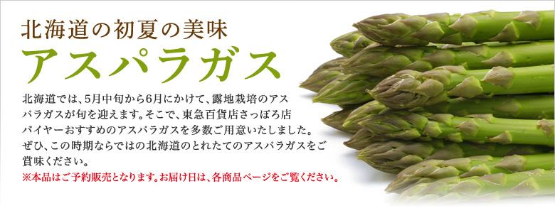 アスパラ特集 北海道では、5月中旬から6月にかけて、露地栽培のアスパラガスが旬を迎えます。そこで、東急百貨店さっぽろ店バイヤーおすすめのアスパラガスを特集いたしました。是非この機会に、この時期ならではの北海道のとれたてのアスパラガスをご賞味ください。※本品はご予約販売となります。お届け日は、各商品ページをご覧ください