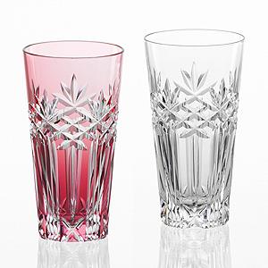 ≪KAGAMI≫江戸切子 笹ッ葉に三つ筋 紅白ペアスリムグラス