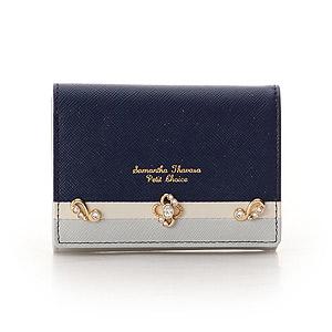 ≪サマンサタバサプチチョイスプラス≫ロココモチーフバイカラー折財布(ネイビー)