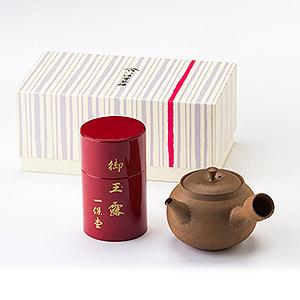 敬老の日≪一保堂茶舗≫玉露麟鳳 小缶・焼締め急須(萬古焼)