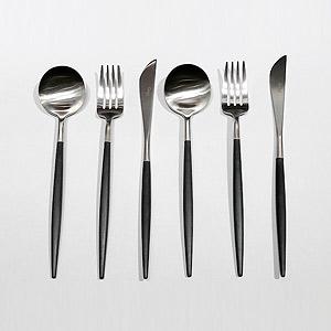 ≪ラ・クッチーナ・フェリーチェ≫クチポール(Cutipol)GOAブラック×シルバー・テーブル6点セット