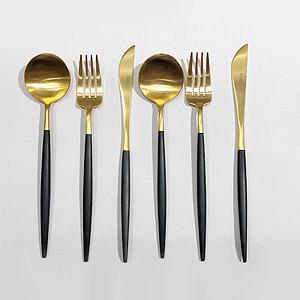≪ラ・クッチーナ・フェリーチェ≫クチポール(Cutipol)GOAブラック×ゴールド・テーブル6点セット