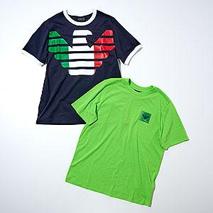 ≪エンポリオアルマーニ≫国旗モチーフTシャツ(紺)&ネオンカラーTシャツ2枚セット