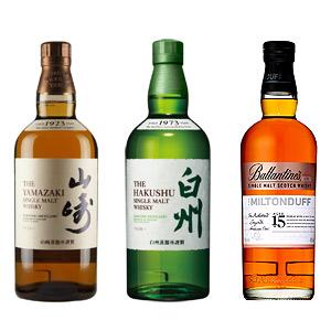 山崎、白州、バランタイン ミルトン ダウ3種飲み比べセット